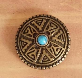 """Concho  """" Indiaanse siermotief """"met turquoise steen """" koper"""