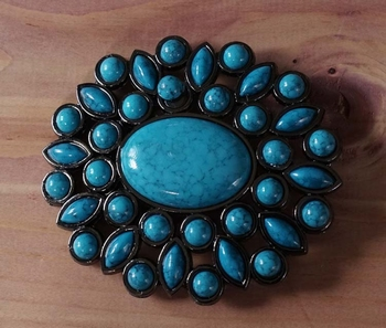 """Buckle """" Grote turquoise steen + veel kleine stenen """""""