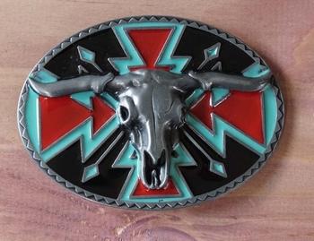 "Buckle  "" Stierenschedel op sierschild indianen motieven """