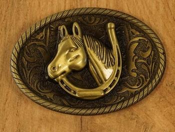 """Buckle """" Paardenhoofd in hoefijzer """" koperkleurig"""