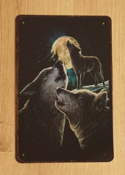 """Billboard """" Huilende wolven bij volle maan """""""