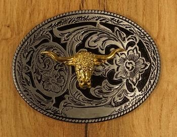 "Buckle "" Longhorn goudkleurig, nikkelkleurig bloemen schild"