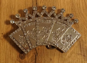 "Belt buckle  "" Speelkaarten assen + kroon ""  strass"