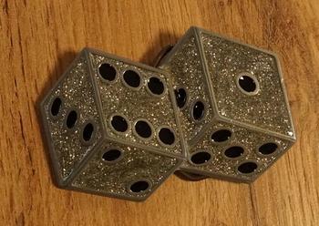 "Belt buckle  "" Dobbelstenen ""  zilver glitter"