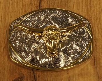 """Buckle  """" Longhorn op sierschild """"   Goud- / zilverkleurig"""