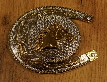 """Buckle """" Paardenhoofd op hoefijzer """" zilver-/ goudkleurig"""