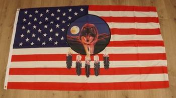 """Amerikaanse vlag  """" Wolf / dreamcatcher """""""
