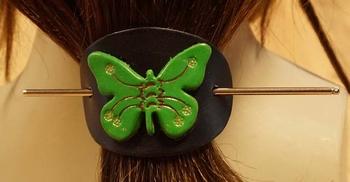"""Leren haarspeld  """" Groene vlinder """""""