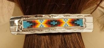 """Sterling zilveren haarclip """" Sierwerk met indiaanse kralen """""""