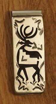"""Indiaanse sterling zilveren geldklem """" Hert """""""