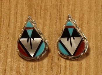 """Sterling zilveren oorknopjes """" Druppels indiaanse kleuren """""""