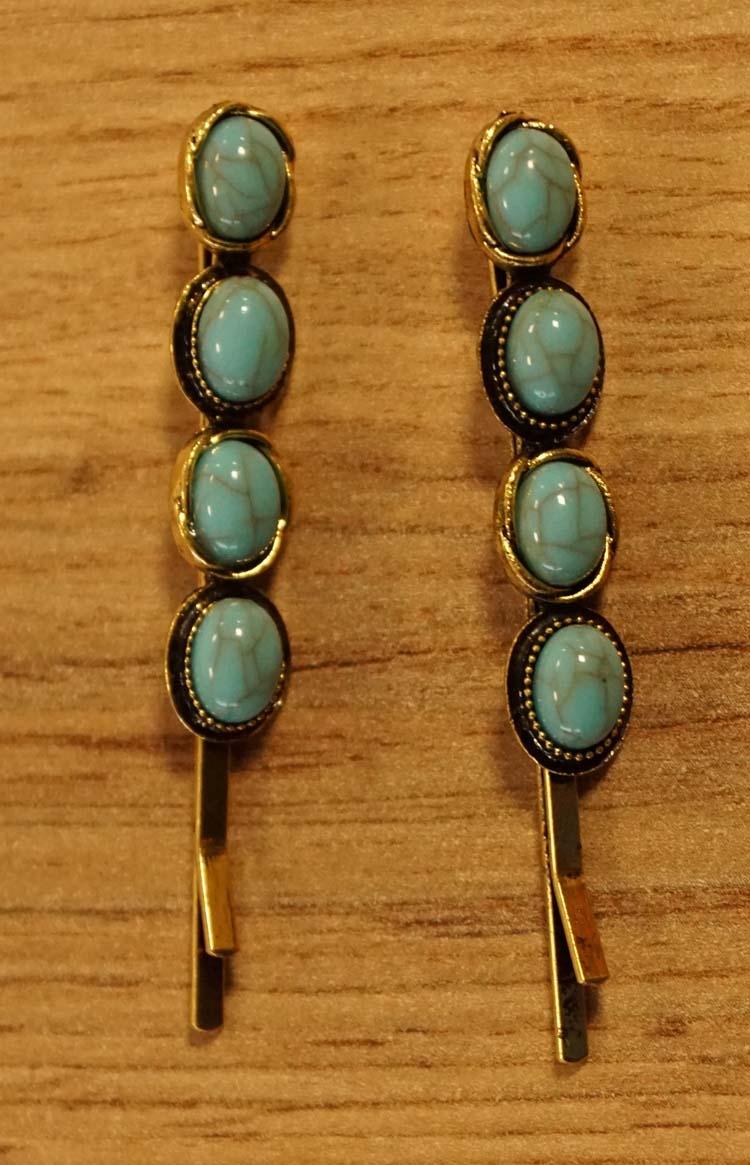 """2 Haarschuifjes  """" Ovale turquoise stenen """""""