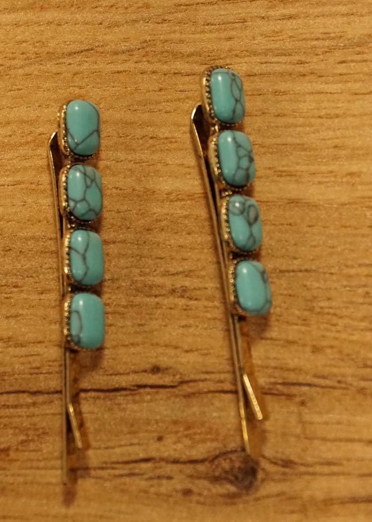 """2 Haarschuifjes  """" Rechthoekige turquoise stenen """""""