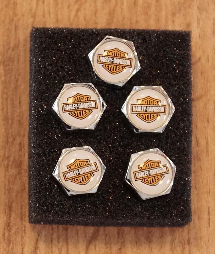 """5 Wieldoppen / schroeven  """" Harley Davidson """"  logo"""