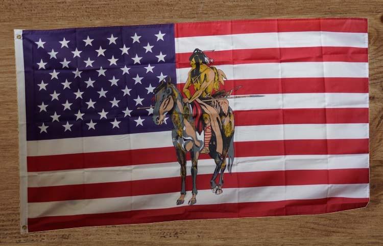 """Amerikaanse gevelvlag  """" Indiaan op paard """""""