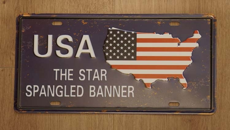 "Amerikaanse kentekenplaat "" USA the star spangeld banner """