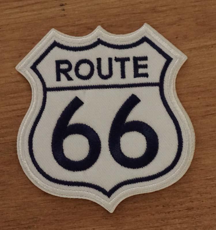 "Applicatie  "" Route 66 ""  wit / blauw"
