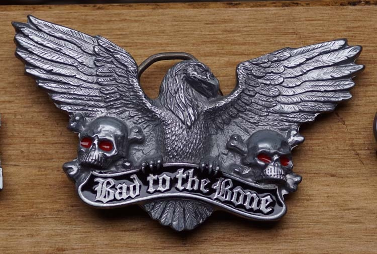 "Belt buckle   "" Bad to the bone ""  Adelaar"