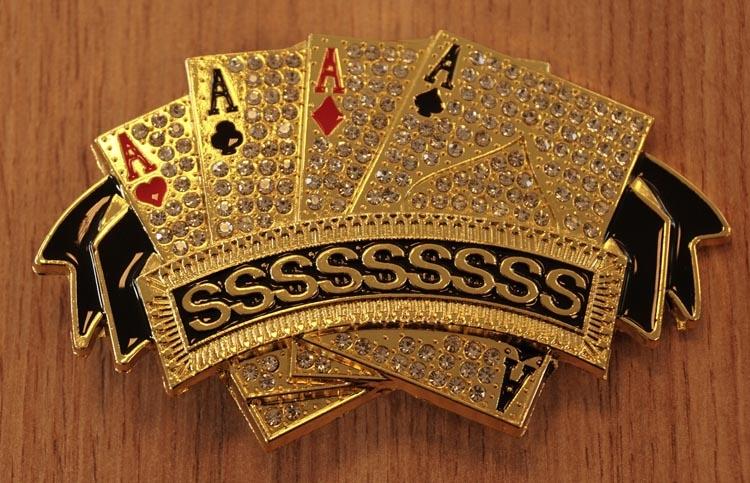 "Belt buckle  "" 4 azen poker kaarten  ""  glitter / goud"