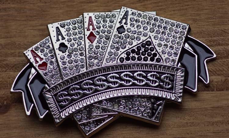 "Belt buckle  "" 4 azen poker kaarten  ""  glitter / zilver"