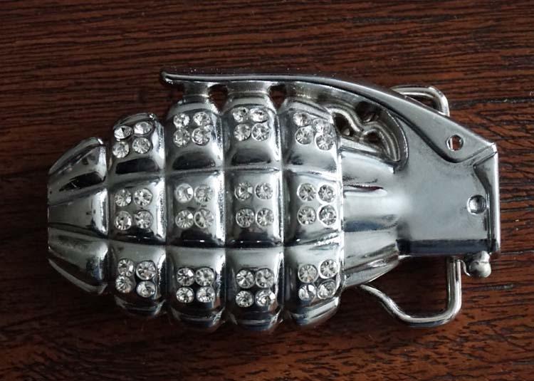 """Belt buckle  """" Handgranaat met strass """""""