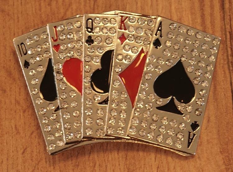 """Belt buckle  """" Poker kaarten  """"  glitter"""