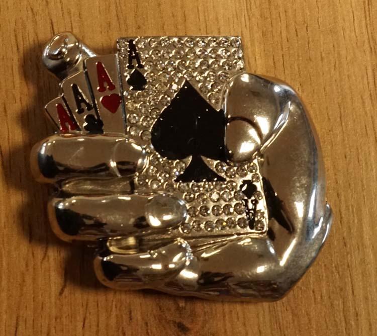 "Belt buckle  "" Pokerhand ""  strass"
