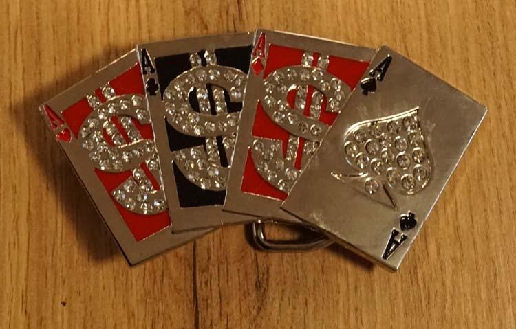 """Belt buckle  """" Speelkaarten assen  """" glitter rood / zwart"""