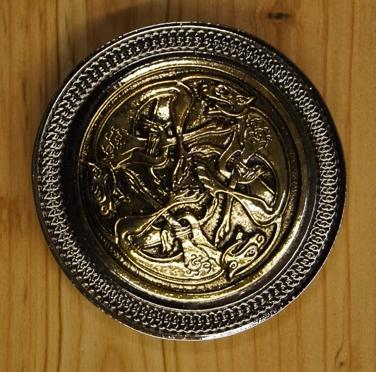 "Belt buckle  "" Three celtic dogs """