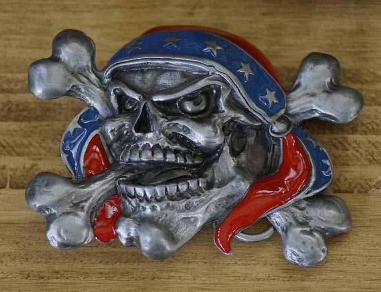 """Belt buckle """" Doodskop piraat met bandana """""""