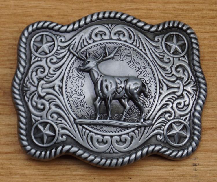 """Belt buckle """" Hert """"  nikkel kleurig"""