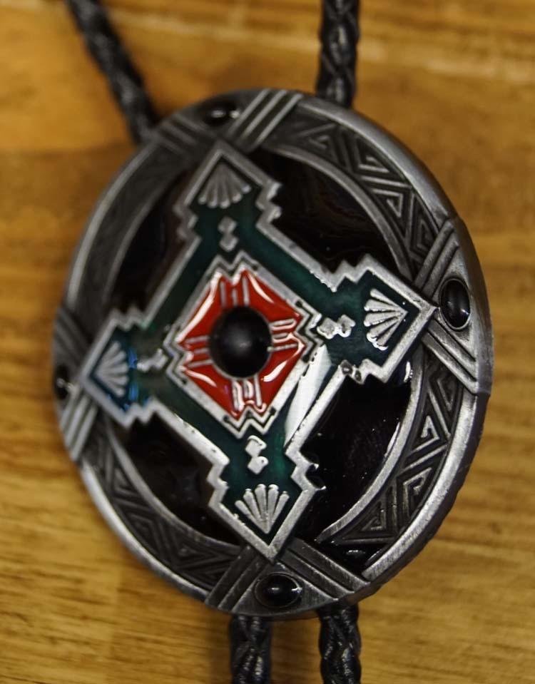 "Bolo tie  ""  Indiaanse decoratie ""  zilver"