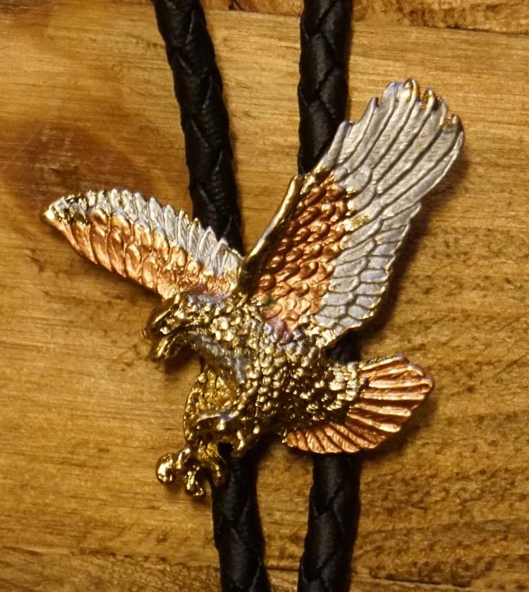 """Bolo tie  """"  Vliegende adelaar """"  Koper/zilver/goudkleurig"""