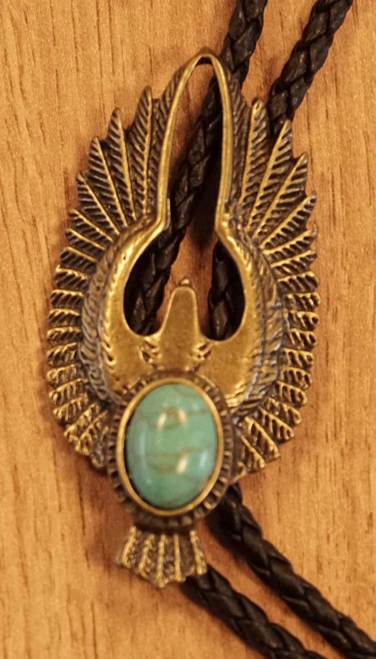 """Bolo tie  """" Adelaar met turquoise steen """"  koperkleurig"""