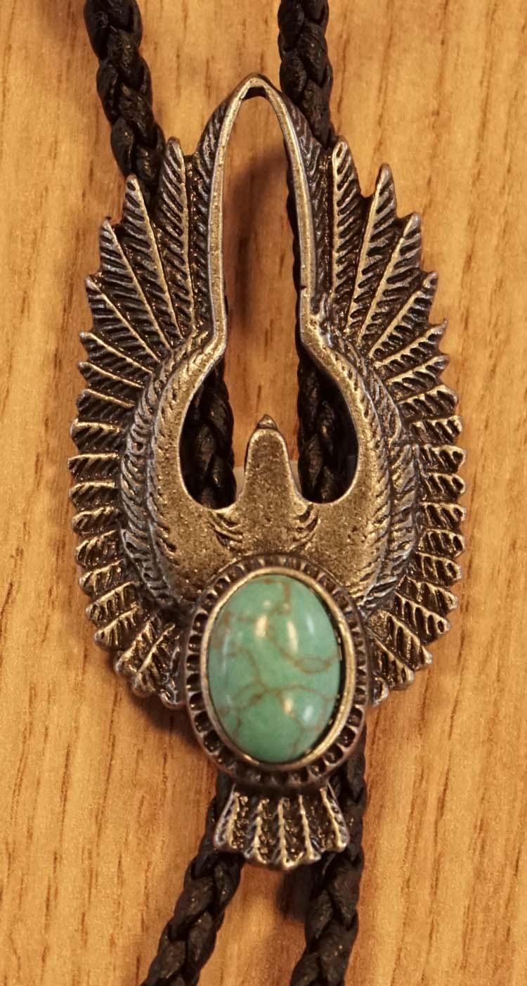 """Bolo tie  """" Adelaar met turquoise steen """"  nikkelkleurig"""