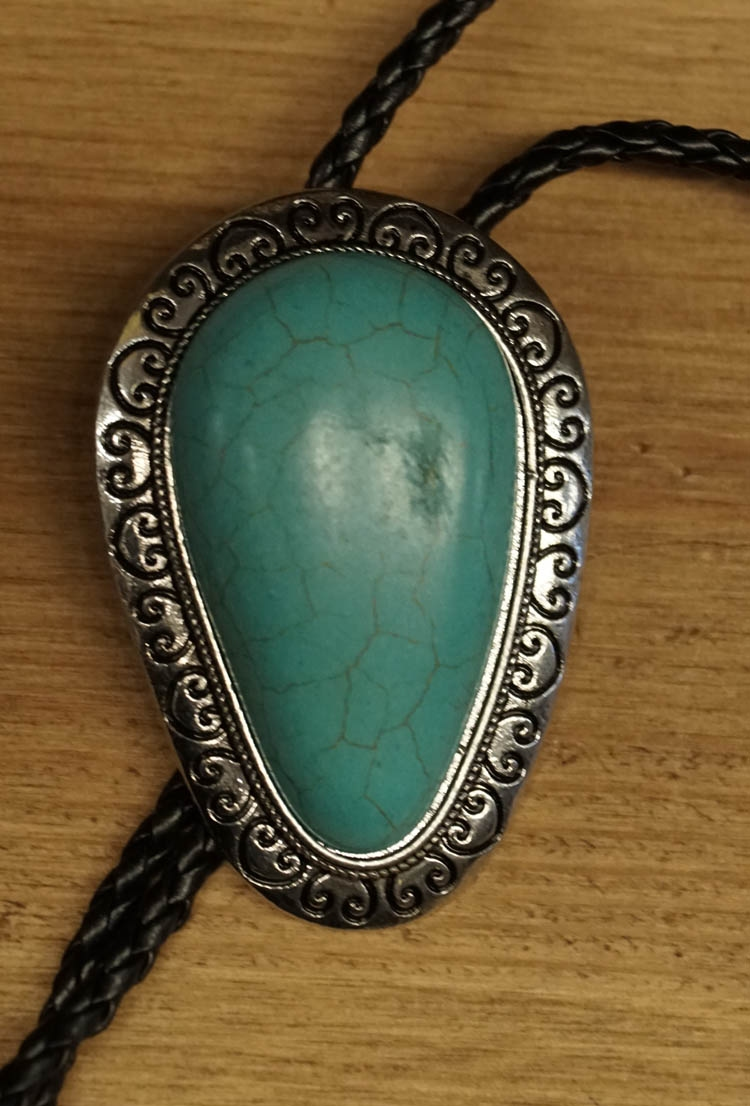 "Bolo tie  "" Grote turquoise steen  """