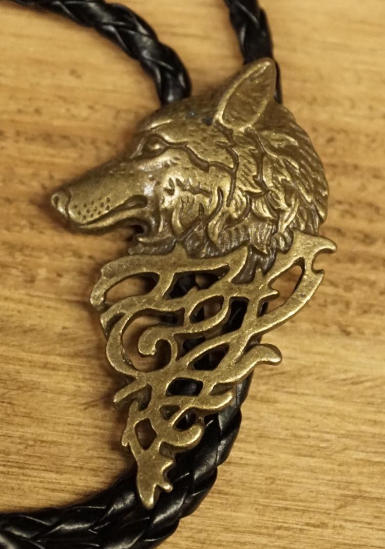 """Bolo tie  """" Wolf met keltische teken """"   koperkleurig"""