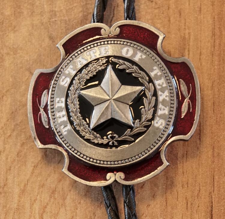"Bolo ties  "" The state of Texas ""   zilverkleurig"