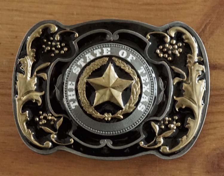 """Buckle  """"  Texas star """"  zwart / goudkleurig  UITVERKOCHT"""
