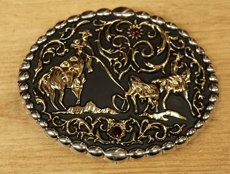 "Buckle  "" Cowboy op paard met bison ""  zwart / goudkleurig"