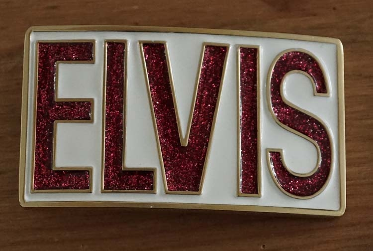 "Buckle  "" Elvis ""   Wit / rood glitter"