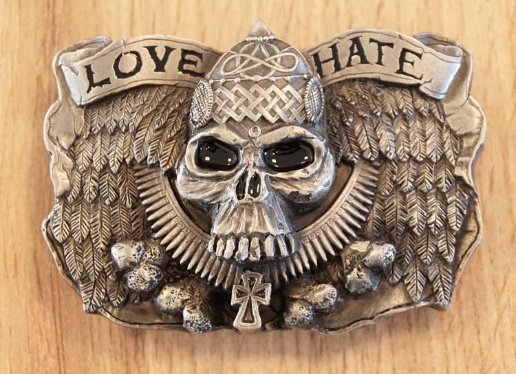 """Buckle  """" LOVE doodskop motorrijder  HATE """" UITVERKOCHT"""