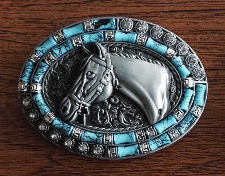 """Buckle  """" Paardhoofd met blauw en strass """""""