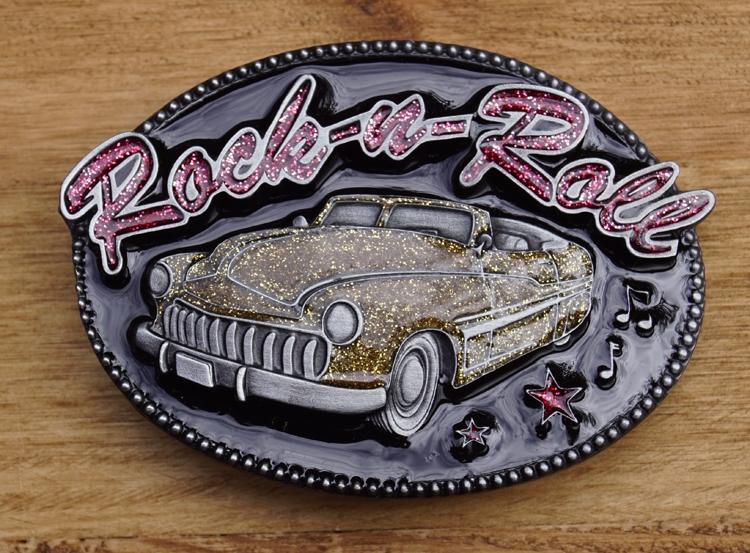 """Buckle  """" Rock & roll """"  Auto goud glitter"""
