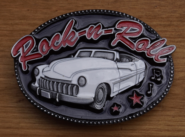 "Buckle  "" Rock & roll ""  Auto wit  UITVERKOCHT"