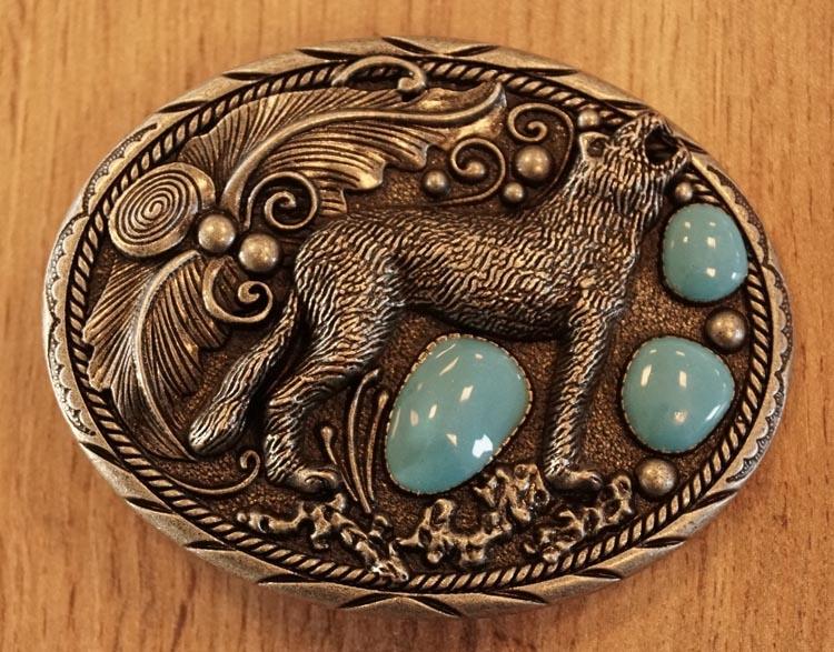 "Buckle  "" Wolf met 3 blauwe stenen """