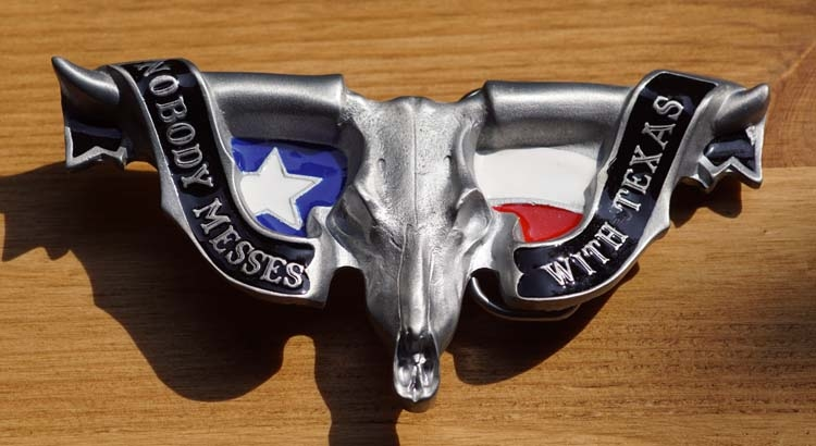 """Buckle / gesp  """"  Nobody messes with Texas """""""