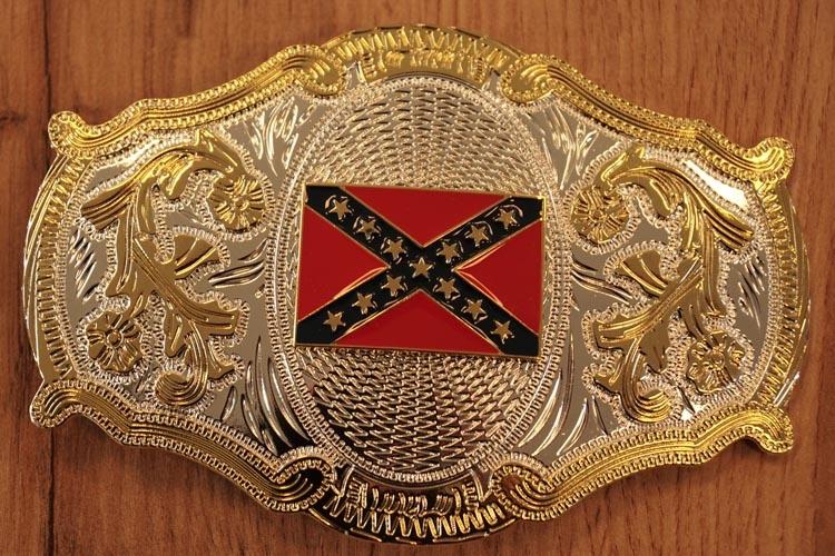 "Buckle / gesp  ""  Rebel vlag ""  zilver- / goudkleurig"