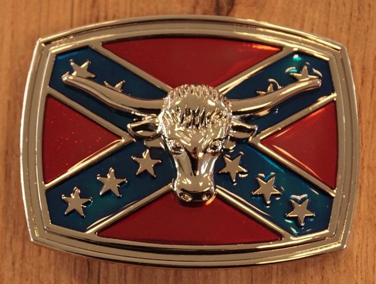 """Buckle / gesp  """"  Rebel vlag met stierenkop """""""
