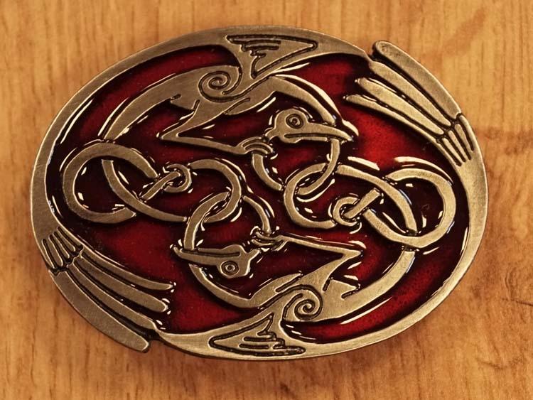 """Buckle / gesp  """" 2 keltische vogels  """"  rood"""